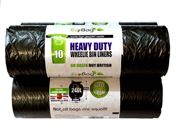 Eco Bag 240 Litre Wheelie Bin Liners - Black - 10 Pack