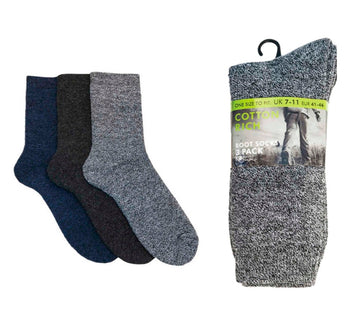 Mens Cotton Rich Boot Socks - Pack 3 - UK 7-11