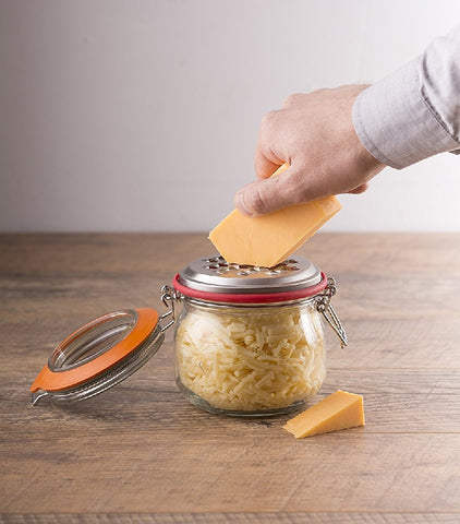 Kilner Cheese Grater Set – Includes Cliptop Jar - Clear