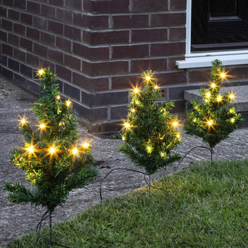 6 Mini Christmas Trees for Path or Driveway with Warm White LED Xmas Lights