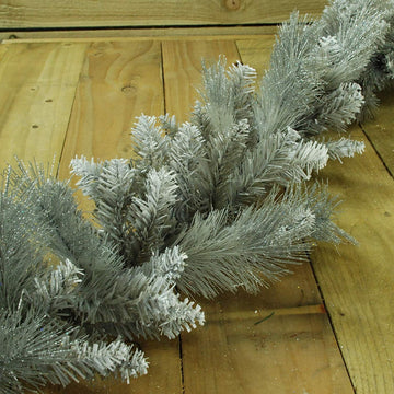 Christmas Silver Garland With Some Glitter Tips - 1.8 Meter (6.5 Ft)