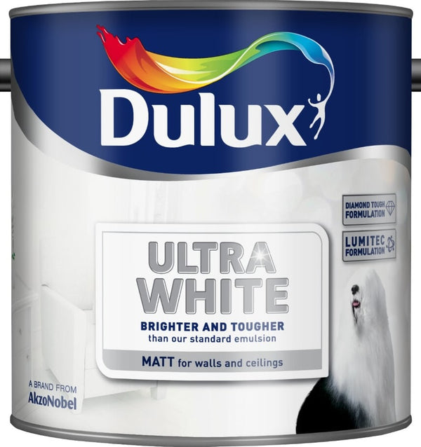 Dulux Retail Ultra White Paint - Matt - 2.5L and 5 Litres