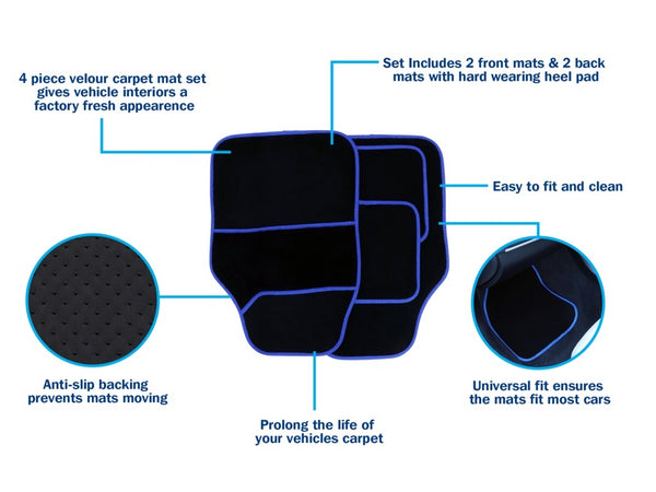 Streetwize Velour Carpet Mat Sets with Coloured Binding - 4 Piece Black/Blue