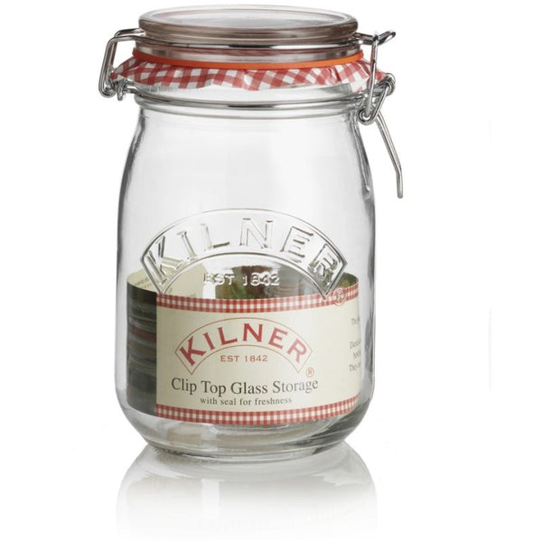 Kilner Clip Top Glass - Round Storage Jar - 1 Litre