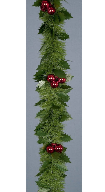 6 Ply Holly & Berry Garland Tinsel - 2.7m x 12cm