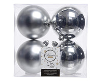 Christmas Tree Baubles, shatterproof, Mixed Shiny & Matt Silver - 100mm - 4 Pack