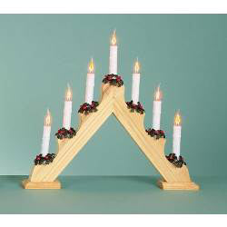 Flickering Bulb 7 Candle Pine Candlebridge Christmas Decoration