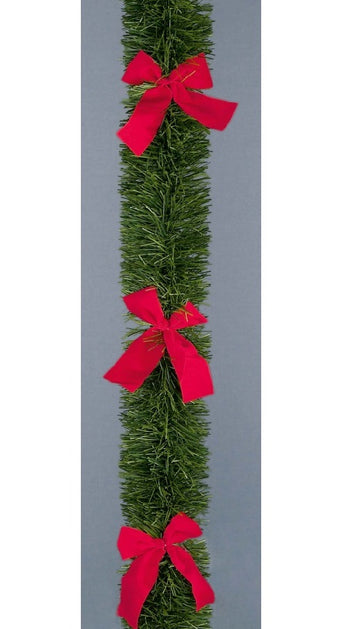 6 Ply Green Garland with Bows Tinsel 2.7m x 10cm