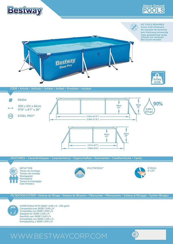 Bestway Rectangular Steel Frame Swimming Pool - 3.00m x 2.01m x 66cm (9.1 Ft)