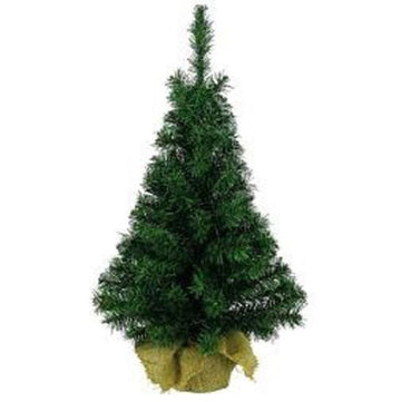 Artificial Mini Christmas Festive Tree Green In Jute Bag - Various Sizes