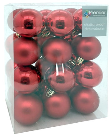 24 Pack Shatter-proof Christmas Baubles Multi-Finish - Deep Red