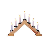 Christmas Candle Bridge V Shaped - 7 Bulb - Pine Wood