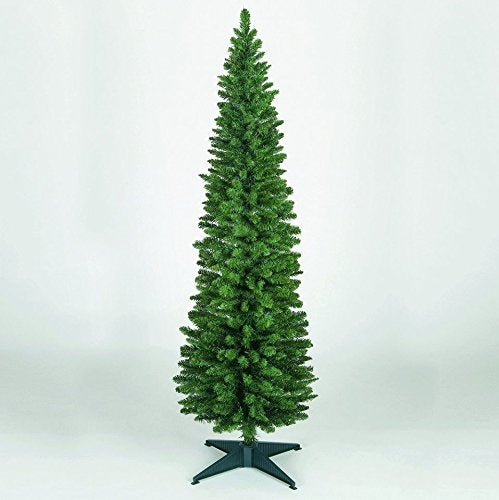 Snowtime Wrapped Pencil Pine Christmas Tree - Green - 4ft - 120cm