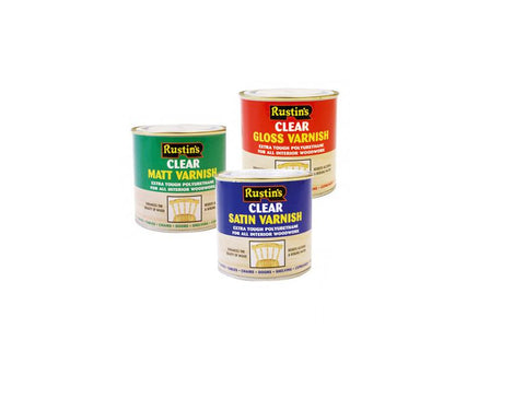 Rustins Polyurethane Clear Varnish Gloss / Matt / Satin ALL SIZES AVAILABLE