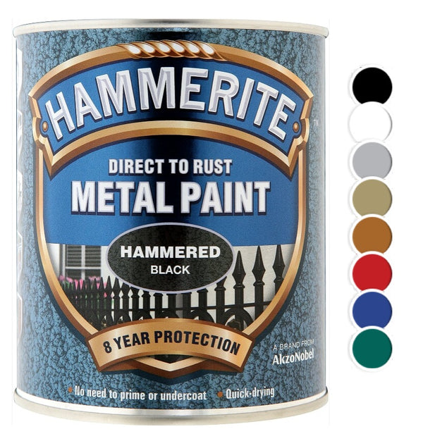 Hammerite - Hammered Direct To Rust Metal Paint - All Colours - All Sizes