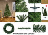 Douglas Fir Pine Christmas Xmas Tree Green - 5 Sizes - Free Wreath and Garland