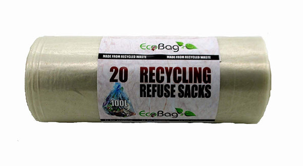 Eco Bag Clear Recycling Bin Bags 100L - 20 Pack