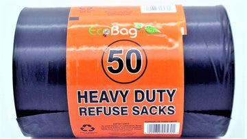 Eco Bag Heavy Duty Refuse Sacks 100L - Black - 50 Pack