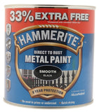 Hammerite - Smooth Direct To Rust Metal Paint - 750ML + 33% Extra Free - Black