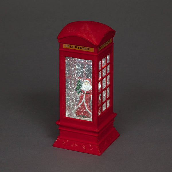 Snowtime Water Filled Telephone Box with Santa Figure - 27cm - Ice White LED's