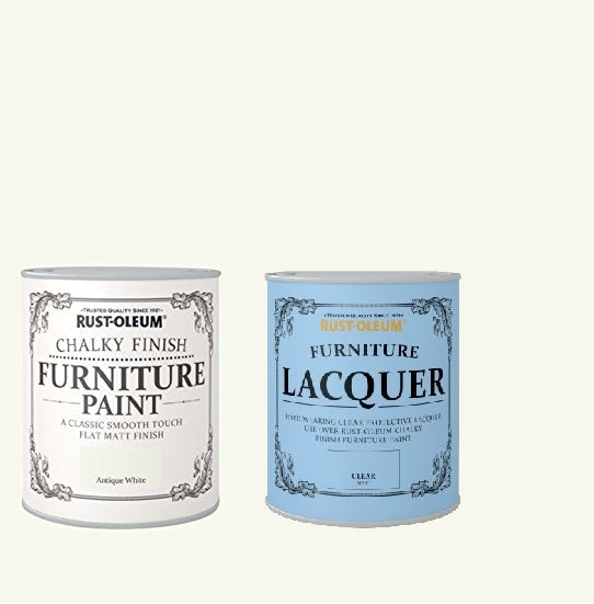 Rust-Oleum Chalky Furniture Paint Antique White 125ml With Furniture Lacquer