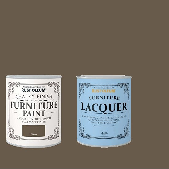 Rust-Oleum Chalky Furniture Paint Cocoa 125ml With Furniture Lacquer