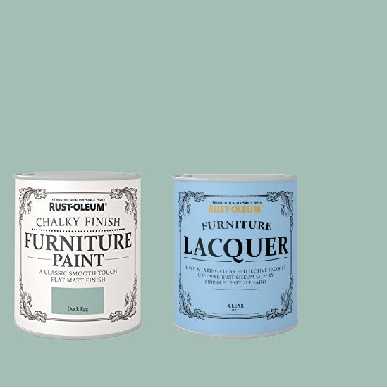 Rust-Oleum Chalky Furniture Paint Duck Egg 125ml With Furniture Lacquer