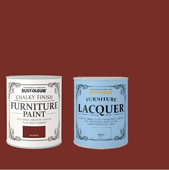 Rust-Oleum Chalky Furniture Paint Fire Brick 125ml With Furniture Lacquer