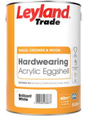 Leyland Trade Acrylic Hardwearing Eggshell Brilliant White - All Sizes