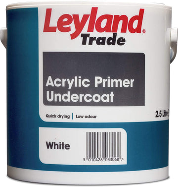 Leyland Trade Acrylic Primer Undercoat Paint - White - All Sizes
