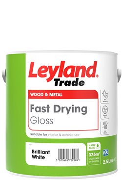 Leyland Trade Fast Drying Gloss Paint - Brilliant White - 2.5L or 750ml