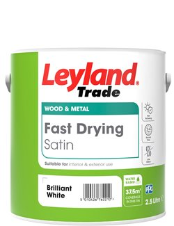 Leyland Trade Fast Drying Satin Paint - Brilliant White - 2.5L or 750ml