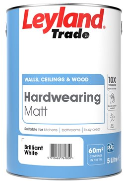 Leyland Trade Hardwearing Matt Paint - Brilliant White - 5L or 2.5L