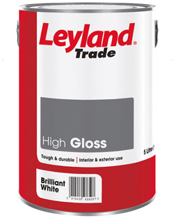 Leyland Trade High Gloss Paint - Brilliant White - All Sizes