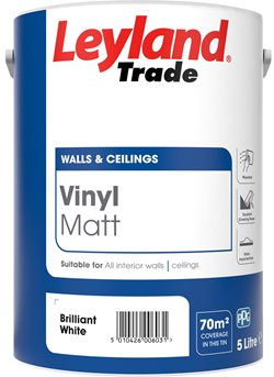 Leyland Trade Vinyl Matt Emulsion Paint - Brilliant White - All Sizes