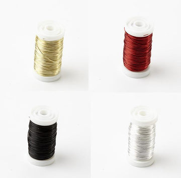 OASIS METALIC REEL WIRE FLORISTRY CRAFT JEWELLERY RED BLACK SILVER GOLD