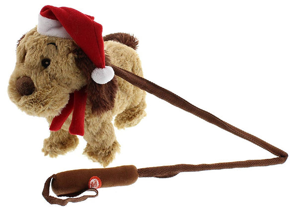 Christmas Musical Walking Puppy Dog & Folding Stick - Child Cuddly Soft Toy