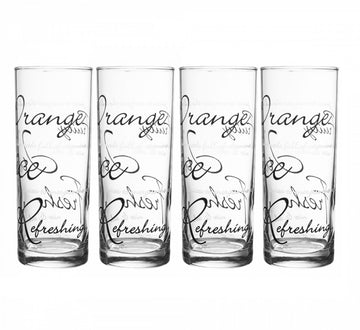 Set of 4 Price & Kensington Script Glass Tumblers Clear With Black Print