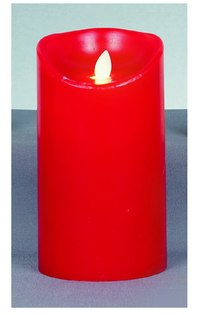 Battery Operated Real Wax Candle with Dancing Flame in Red 18cm
