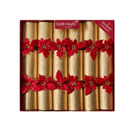 Robin Reed Crackers - Gold Glitter Poinsettia - 12 Inch - 6 Pack