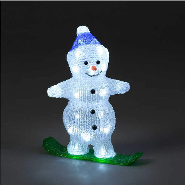 Acrylic Snowman Snowboarding Christmas Decoration - 29cm - 30 Ice White LED's