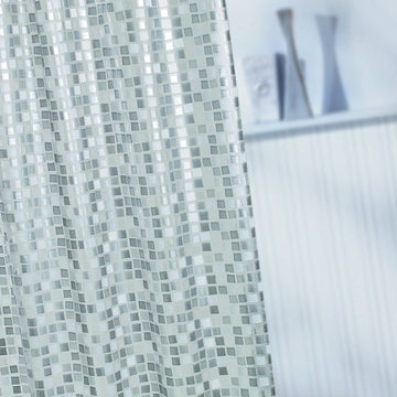 Croydex PVC Shower Curtain Silver Mosaic 1800mm x 1800mm Easy to clean
