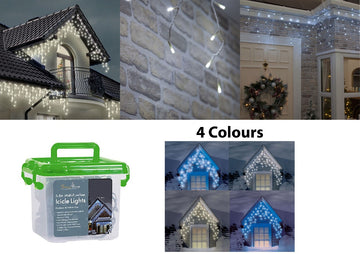 Christmas LED Outdoor Multi Function Icicle Lights - 300 LED - Warm & Ice White