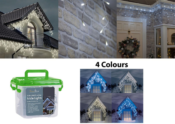 Christmas LED Outdoor Multi Function Icicle Lights - 180 LED - Warm & Ice White