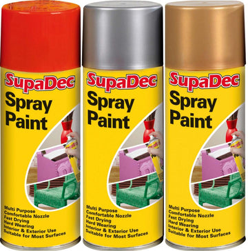 SupaDec Christmas Spray Paint 400ml Gold / Silver / Bright Red Available