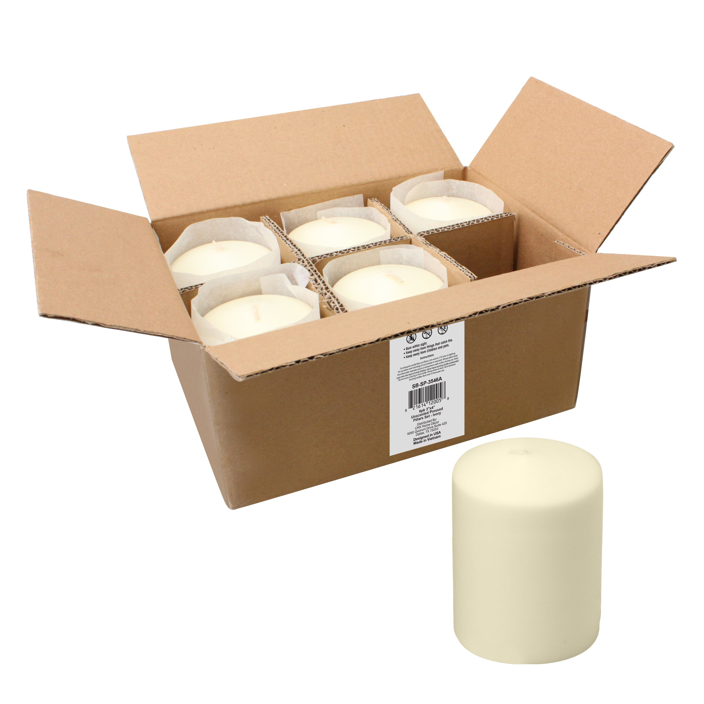 3 x 4 Unscented Ivory Pillar Candles, Set of 6 (WS)