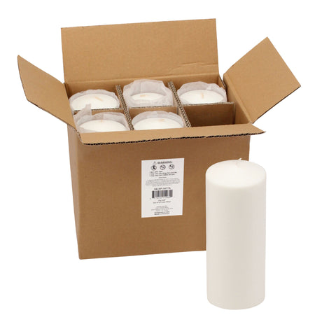 3x8 Unscented White Pillar Candles (Set of 6)