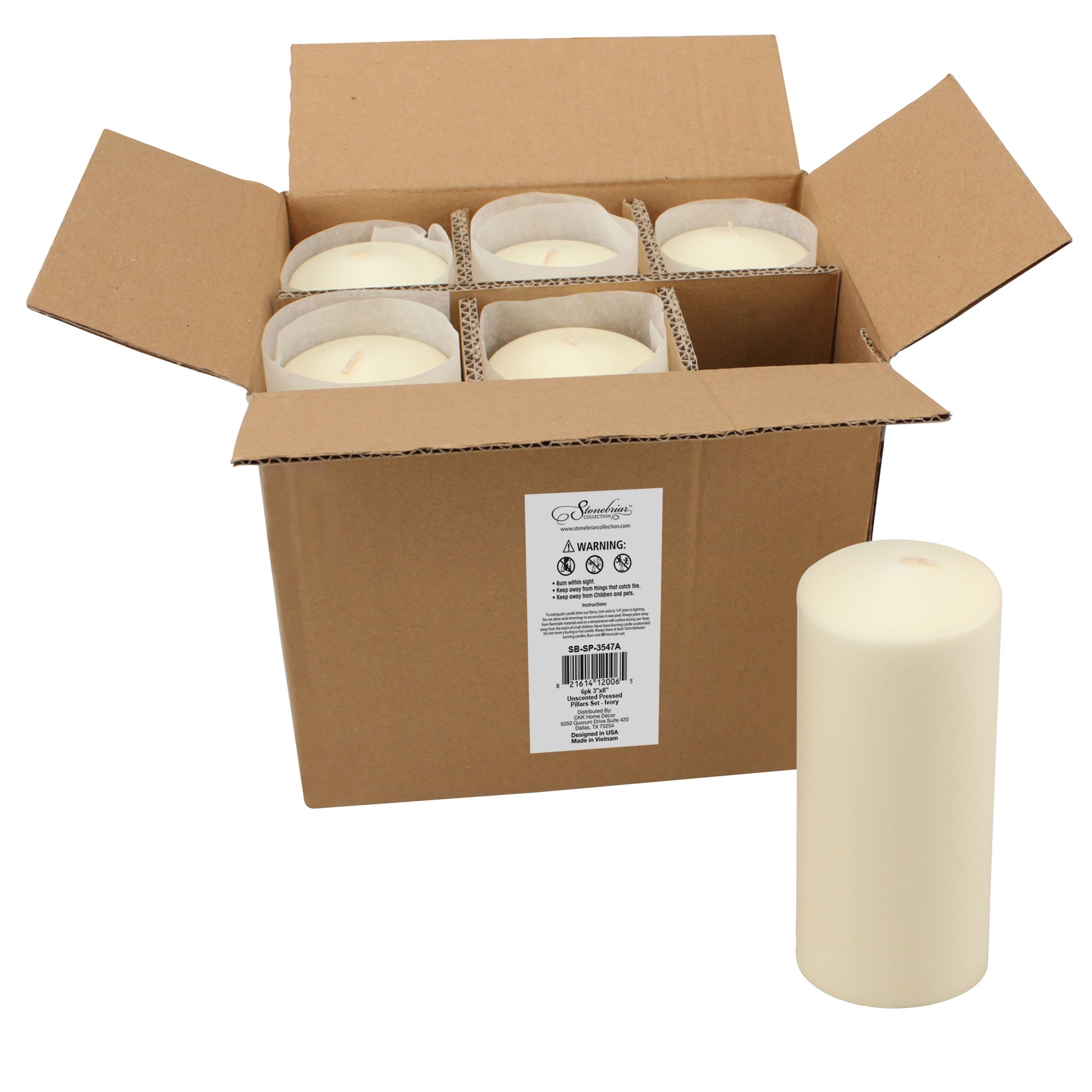 3 x 8 Unscented Ivory Pillar Candles, Set of 6