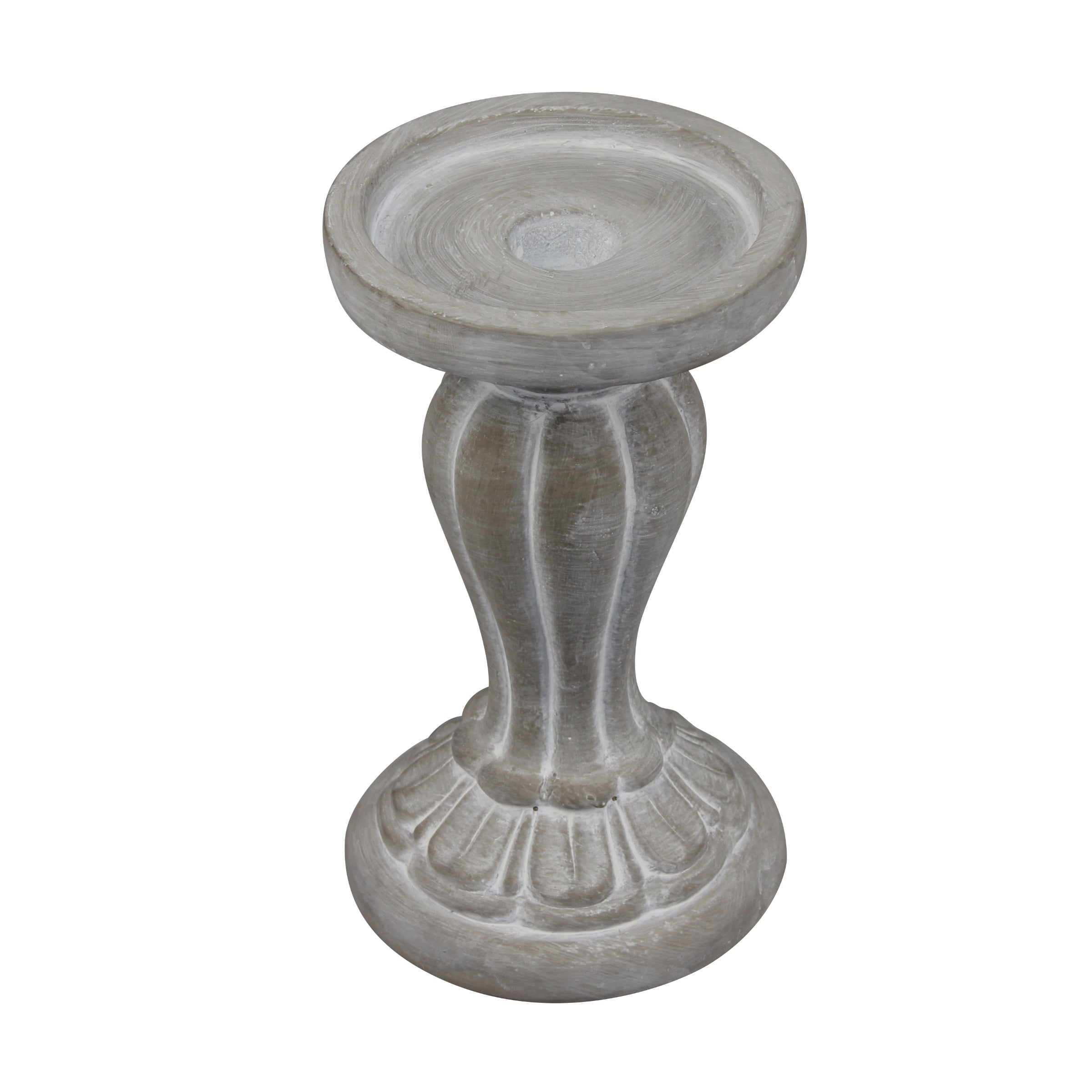 Briarwood Decorative Molded Cement Pillar Candle Holder