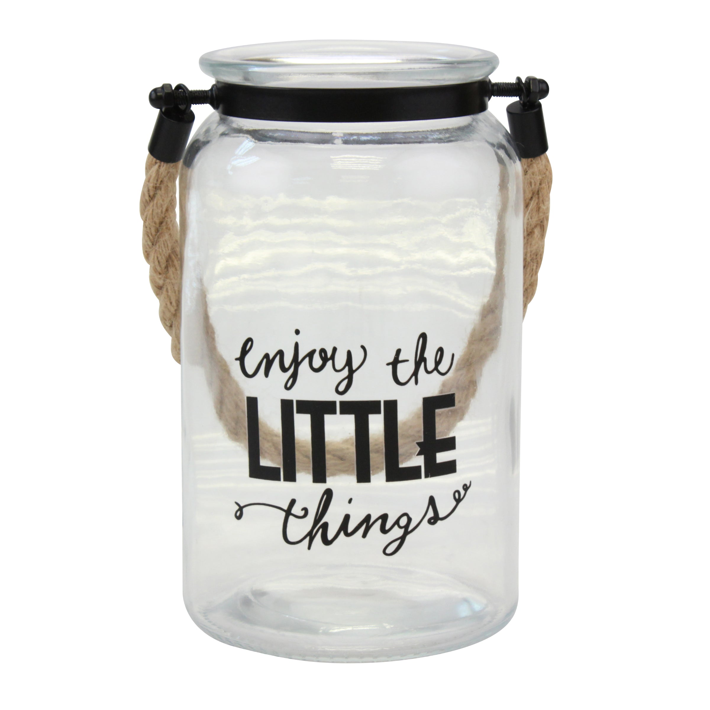 """Enjoy The Little Things"" Decorative Glass Candle Lantern (WS)"